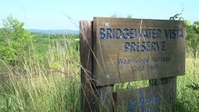Entrance sign to a New England Preserve stock footage