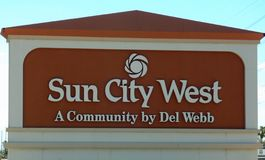 Entrance to Sun City West in Arizona royalty free stock image