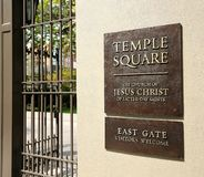Entrance sign to Temple Square royalty free stock photography