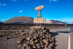 Entrance Sign to Timanfaya National Park Lanzarote Stock Image