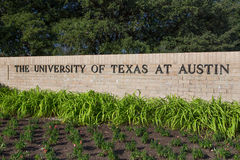 Entrance Sign to the University of Texas Stock Photos