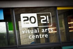 Entrance and Sign for the 20:21 Visual Arts Centre in Church Square - Scunthorpe, Lincolnshire, United Kingdom - 23rd January 2018 royalty free stock images