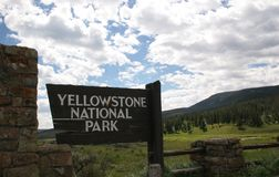 Entrance sign Yellowstone National Park stock photography
