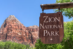 Entrance sign at Zion National Park. Zion National Park entrance sign at Springdale, Utah Stock Photo