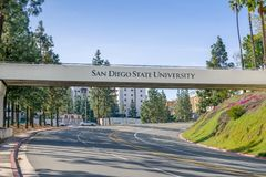 Entrance Sing and Bridge to the Campus of San Diego State Univer. SAN DIEGO, CA/USA - JANUARY 13, 2018: Entrance sign and bridge to San Diego State University Royalty Free Stock Photos