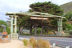 Entrance of the spectacular Great Ocean Road, Australia Royalty Free Stock Image