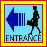 Entrance square buttons.  sign door with human Stock Photography