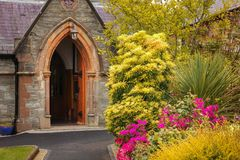 St Augustine`s Church. Derry Londonderry. Northern Ireland. United Kingdom. Entrance. St Augustine`s Church, original site of St Columba monastery. Derry Stock Photo