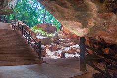 Entrance stair in cave Royalty Free Stock Photos