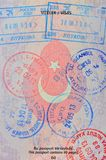 Entrance stamps on turkish passport page Stock Photo