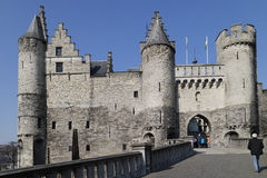 Entrance of the Steen Castle on banks of Schelde river in Antwer. Entrance gate to the Steen Castle on banks of Schelde river in Antwerp, Belgium Royalty Free Stock Photos