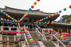Entrance steps of korean buddhistic Bulguksa Temple with many lanterns to celebrate buddhas birthday on a clear day. Located in stock photos