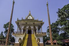 Main facade of the Buddhist temple Wat Leu Sihanoukville Cambodia. Entrance steps of the main facade of the Buddhist temple Wat Leu Sihanoukville Cambodia Stock Images