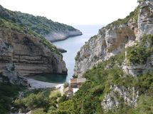 The entrance of the Stiniva bay Stock Photography