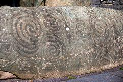 Entrance stone in Newgrange. Very old historical site in Ireland Royalty Free Stock Images