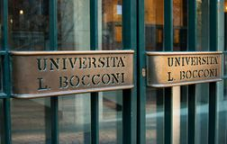 Entrance for students of Bocconi University of Milan stock photos