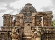 Entrance of the Sun temple with one pair stone lion, Konark, Odisha, India. royalty free stock image