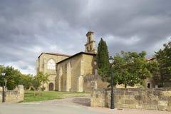 Cistercian monastery in Cañas. Entrance of the 12th century Cistercian monastery of Saint Mary in Cañas, La Rioja, Spain Stock Photos