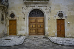 Entrance with three doors Royalty Free Stock Photography