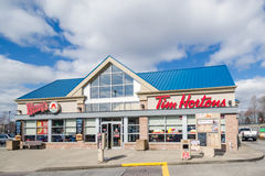 Entrance of a Tim Hortons and Wendy's Restaurants stock photography
