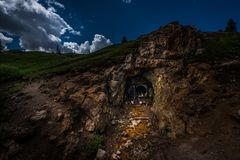 Gold mine Entrance. Entrance to the abandoned gold mine Colorado Mountains near Ouray royalty free stock photos