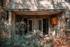 Entrance to the abandoned house in the chernobyl exclusion zone. Entrance to the abandoned house royalty free stock photo