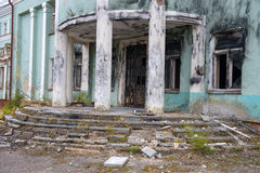 Entrance to the abandoned house. Old evicted and destroyed house Stock Photos