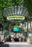 The entrance to the Abbesses subway station. Paris, France. Paris, France - July 06, 2016:  The entrance to the Abbesses subway station. It is a famous Art Royalty Free Stock Photos