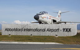 Entrance to the Abbotsford Airport. The Royal Canadian Air Force CF-101 Voodoo fighter interceptor jet is located at the entrance to the Abbotsford Airport Royalty Free Stock Photo