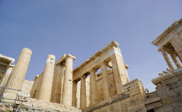 Entrance to Acropolis  with columns, Athens, Greece Royalty Free Stock Images