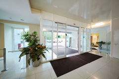 Entrance to administrative building. Equipped with automatic door royalty free stock photography