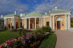Entrance to Agate Rooms of Cold Bath pavilion. Pushkin, St. Petersburg, Russia - September 20, 2015: Entrance to Agate Rooms of Cold Bath pavilion in Catherine Stock Photo