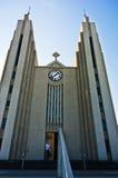 Entrance to Akureyrarkirkja, cathedral in city of Akureyri Stock Photos