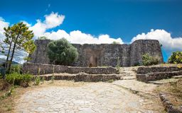 Entrance to the Ali Pasha`s fortress near Agia village, Greece. Stock Images