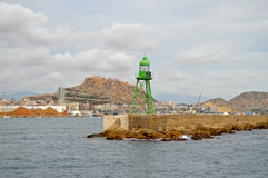 The Entrance To Alicante Harbour Navigation Light In Sea Port Royalty Free Stock Photography