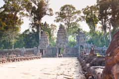 Entrance to amazing ruins of Preah Khan Temple (12th Century) in Royalty Free Stock Photo