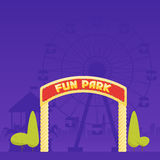 Entrance to the amusement park. Circus carousel and a ferris wheel in the background. Vector illustration.  Royalty Free Stock Photo