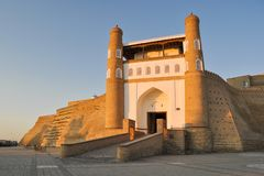 Entrance to the ancient citadel in Bukhara `Ark citadel`. royalty free stock photography