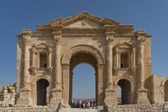 The entrance to the ancient city of Jerash located near Amman Jordan. It was founded by Alexander the Great in the 4th century BC. The entrance of the ancient stock photos