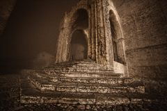 Entrance to an ancient medieval church located in Erice in the province of Trapani Stock Image