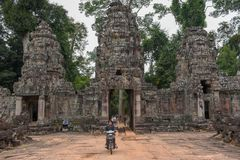 Entrance to ancient Preah Khan temple in Angkor, Cambodia Royalty Free Stock Photo