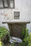 Ram Inn Entrance Door, Wotton-under-Edge, Gloucestershire, UK. Entrance to the Ancient Ram Inn, former 12th century public house, reported to be one of the most royalty free stock photography