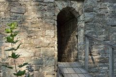 Entrance to ancient stone fortress Stock Photo