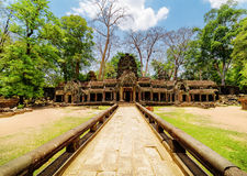 Entrance to ancient Ta Prohm temple in Angkor, Cambodia Royalty Free Stock Image