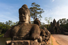 The entrance to Angkor Thom, Cambodia. The entrance to Angkor Thom, former capital of Khmer empire, UNESCO heritage site, Angkor Historical Park, Cambodia Royalty Free Stock Photo