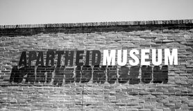 The entrance to Apartheid Museum. Sign. Royalty Free Stock Photo