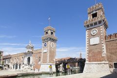 Entrance to the Arsenale, Castello, Venice, Veneto, Italy stock images