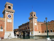 Entrance to the Arsenale, guarded by 16th Century towers royalty free stock photos