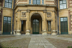 Entrance to Art Deco Palace in Eltham, Greenwich, London. Stone decorative entrance and courtyard to Eltham Palace in Greenwich, London Stock Image