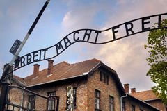 Entrance to the Auschwitz. Concentration camp Royalty Free Stock Image